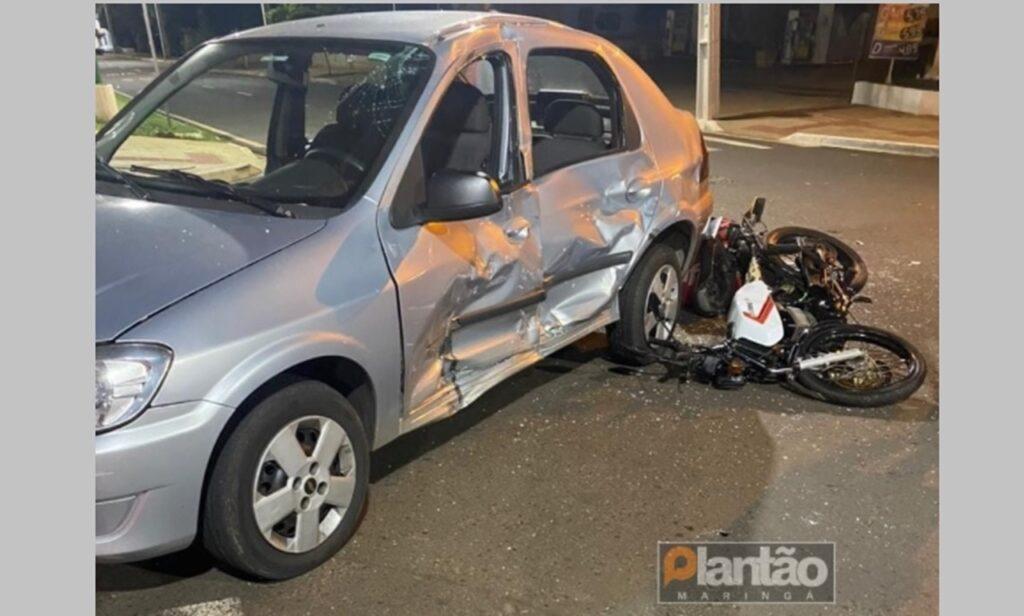 Vídeo mostra momento em que motoboy colide na lateral de veículo, em Maringá